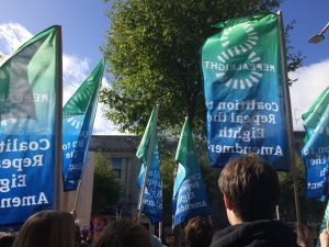 Repeal the Eighth coalition flags on Dublin's O'Connell Street during the 2017 March for Choice