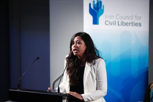 Sneha Mukherjee of the Indian organisation Human Rights and Law Network speaking at a conference