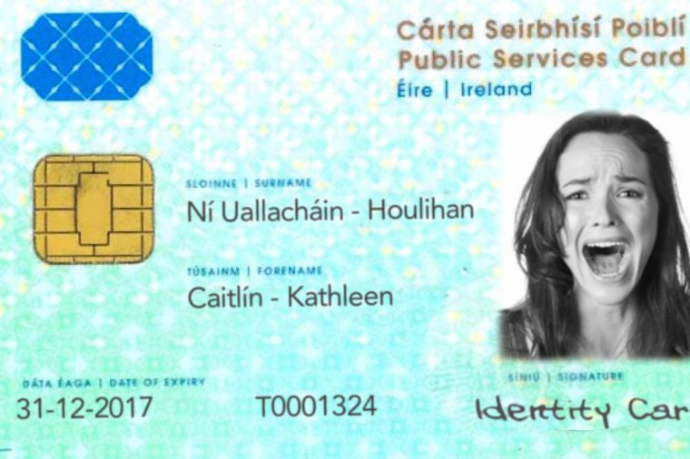 Public Services Card featuring Caitlin Ni hUallachain screaming