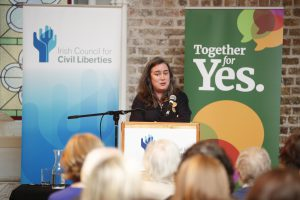 Mairead Enright speaking at Under the Eighth