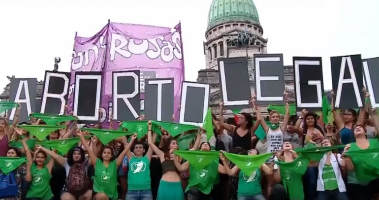 Argentinians take the streets in favour of legalising abortion. The feminist movement in Argentina is symbolised by a green bandana