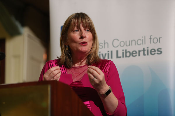 Prof Fionnuala Ni Aolain speaking at an ICCL event in Dublin, November 2018
