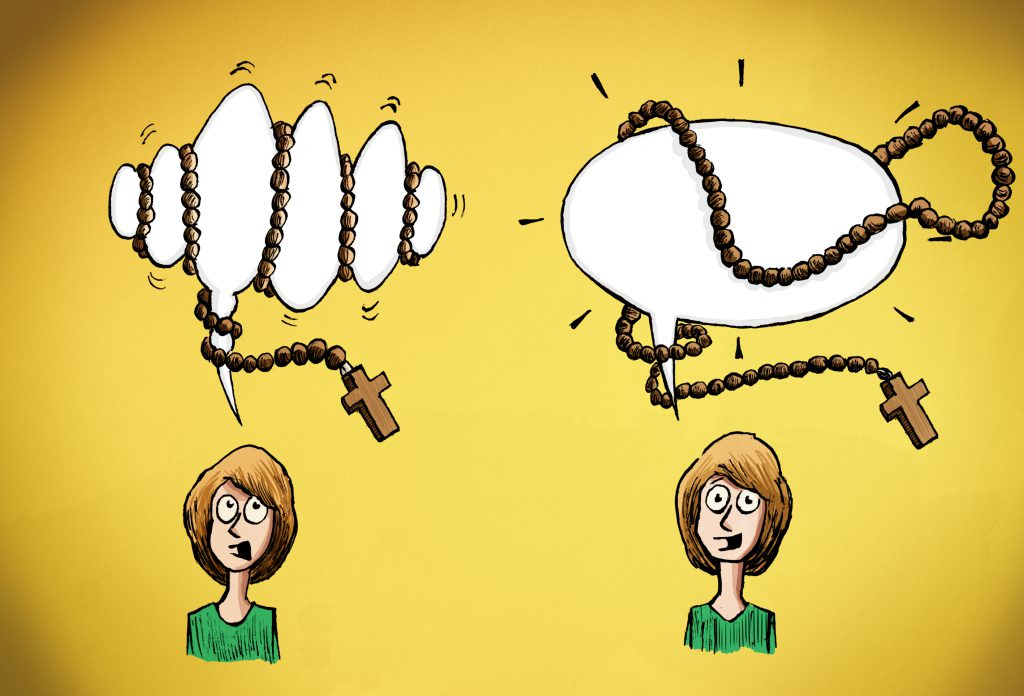 Cartoon of two speech bubbles, one choked by rosary beads, the other free.