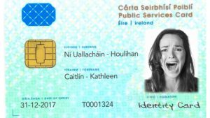 a public services card with a woman (Cathleen Ni Houlihan) screaming