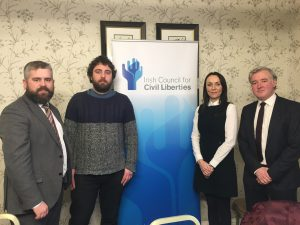 Peter Kavanagh (Green Party), Eoghan O Ceannabhain (PBP), Tara Deacy (SocDems) and Liam Herrick (ICCL) at a press conference to announce GE2020 parties' commitments to human rights.